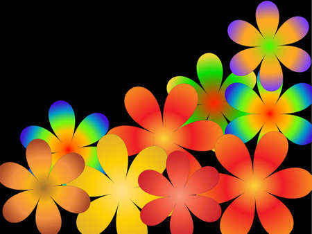 The scattered multi-coloured flowers on a black background photo