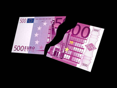 dime: The flying, broken off banknote in 500 Euro