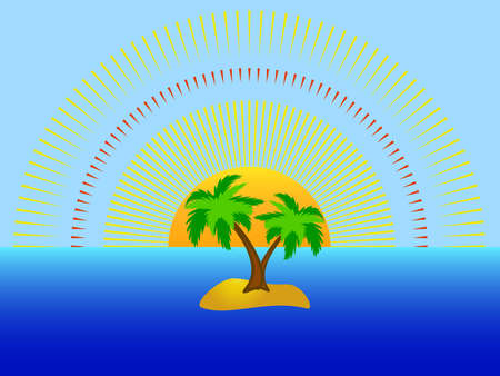 Palm tree on single island in the high sea Vector