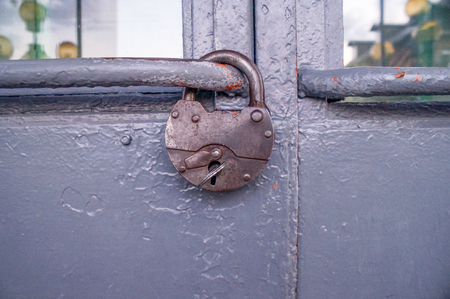 Old padlock on the door