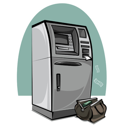 plastic money: atm cash machine and bag with money