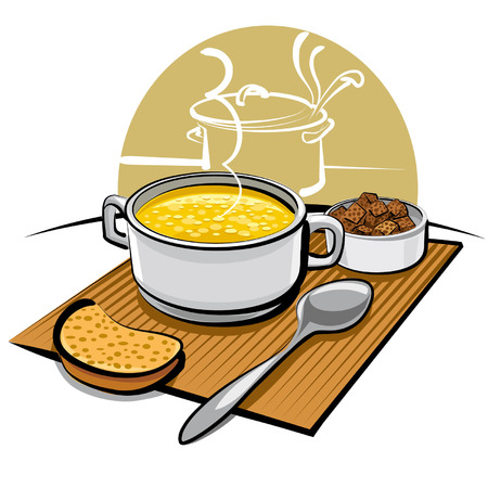 chicken dish: chicken soup and croutons Illustration