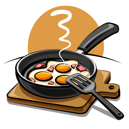 cooked meat: fried eggs with bacon Illustration