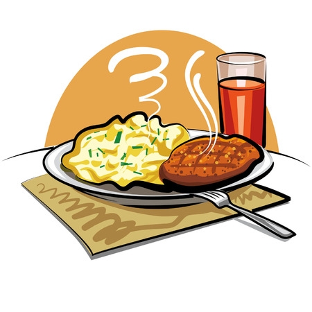 fried: mashed potatoes with a cutlet Illustration