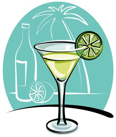 tequila: Cocktail Margarita Illustration