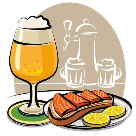 beer and sandwich with salmon Stock Vector - 9231194