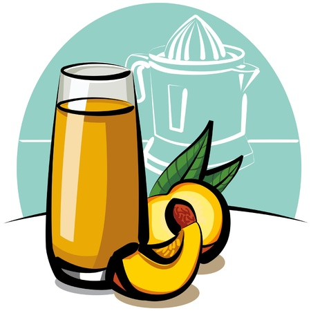 fresh peach juice Stock Vector - 9231188