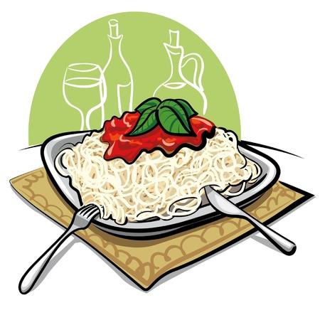 plato pasta: Espaguetis con salsa de tomate Vectores