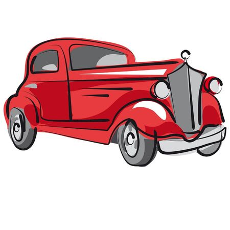 old fashioned: Old car Illustration