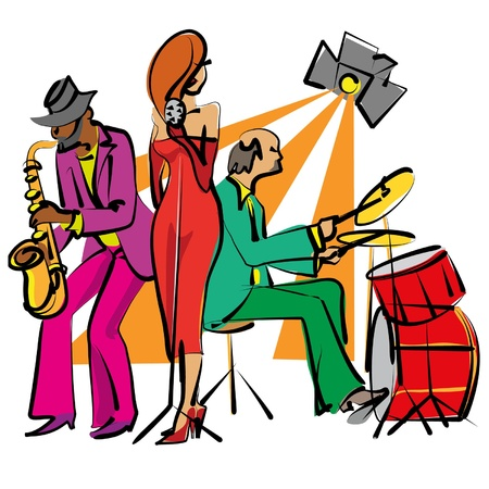 Jazz band playing on the stage Stock Vector - 9287826