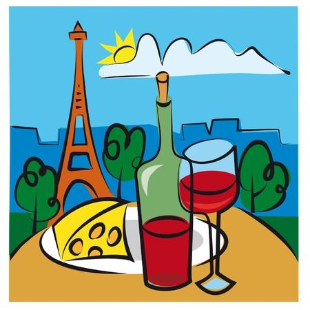 francés vino Ilustración de vector