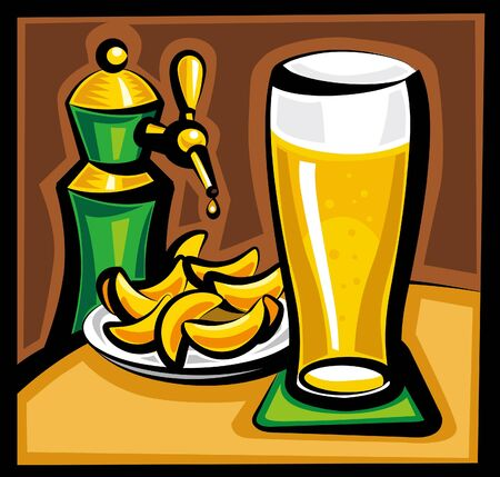 potato chip: beer and chips Illustration