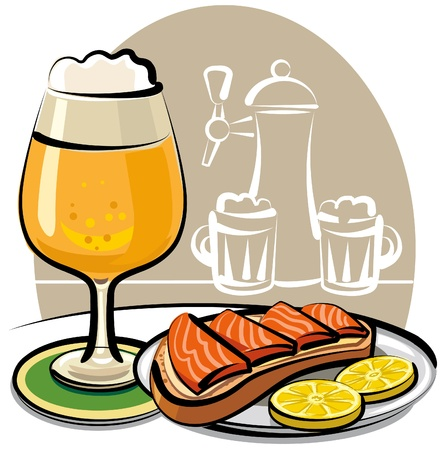 beer and sandwich with salmon Иллюстрация