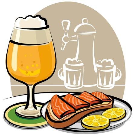 salmon ahumado: sandwich con salmón y cerveza