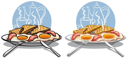 fried eggs with bacon Stock Vector - 9602700