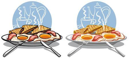 huevos fritos: huevos fritos con tocino Vectores