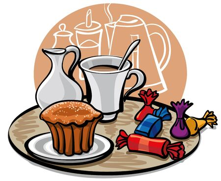 cupcake, candy and coffee with milk Vector
