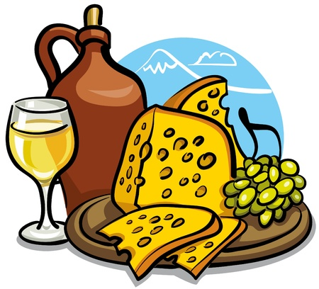 wine and cheese: cheese and wine Illustration