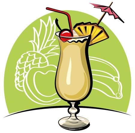 pineapple  glass: cocktail pina colada Illustration