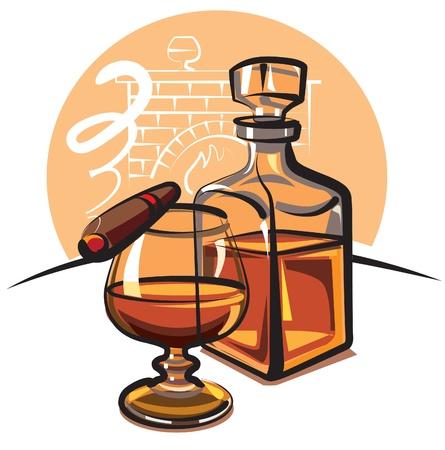 alcoholismo: Cognac y cigarro