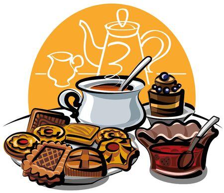 cookie, jam and tea