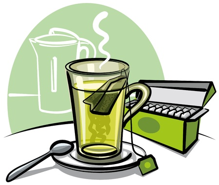 hot plate: green tea and tea bags