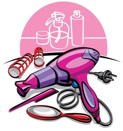 hair dryer: secador de pelo Vectores