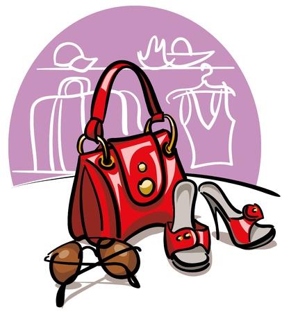 female handbag, shoes and sunglasses