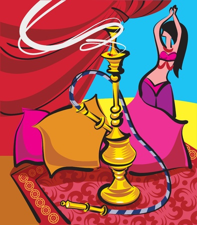 harem: hookah and belly dancer