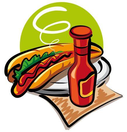 encurtidos: perro caliente y salsa de tomate Vectores