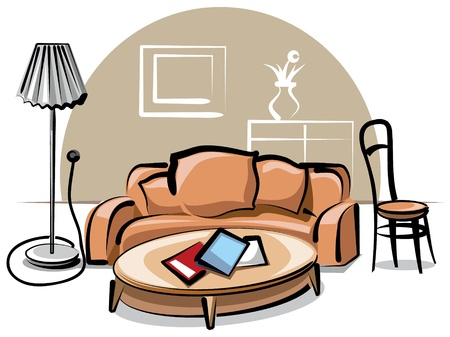 interior with sofa Stock Vector - 9655561