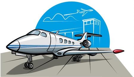 jet airplane: business jet airplane Illustration