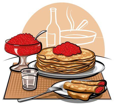 pietanza: Frittelle con caviale rosso Vettoriali