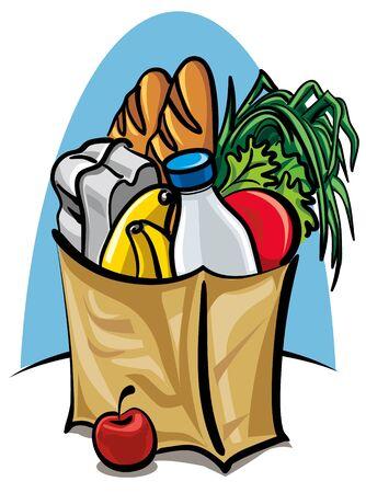 Bolsa de compras con alimentos Ilustración de vector