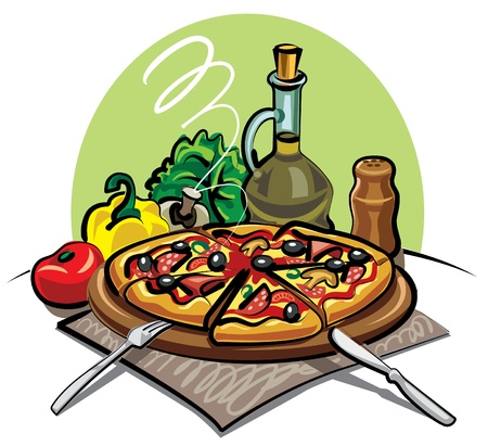 slice tomato: pizza Illustration