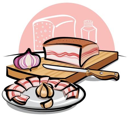 garlic bread: pork lard Illustration