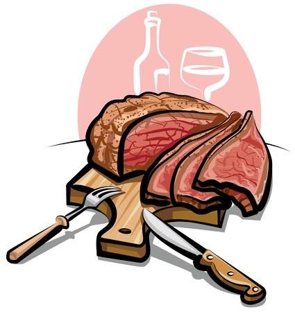 grill meat: r�ti de boeuf Illustration