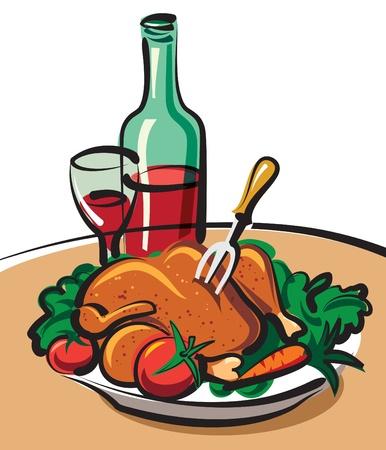 pollo rostizado: pollo asado y vino tinto