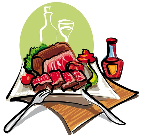 steak plate: asado de carne y verduras Vectores