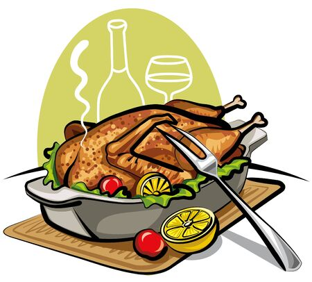 roast dinner: roast goose Illustration