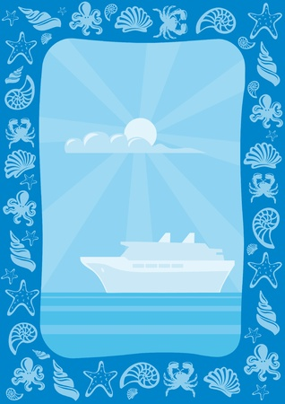 ocean liner: sea travel frame Illustration