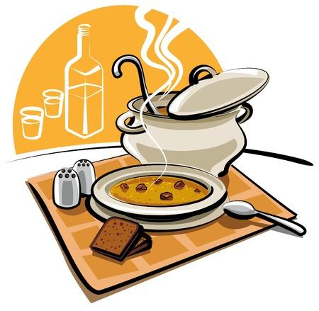 soup spoon: soep Stock Illustratie