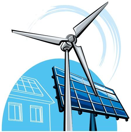 発電機: 風車と太陽電池パネル  イラスト・ベクター素材
