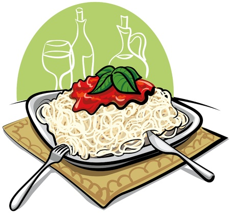 cooked: Spaghetti with tomato sauce Illustration