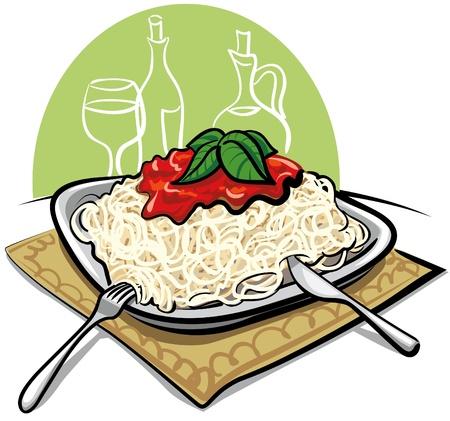 spaghetti: Spaghetti with tomato sauce Illustration
