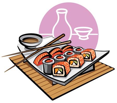 sushi roll: sushi Vettoriali