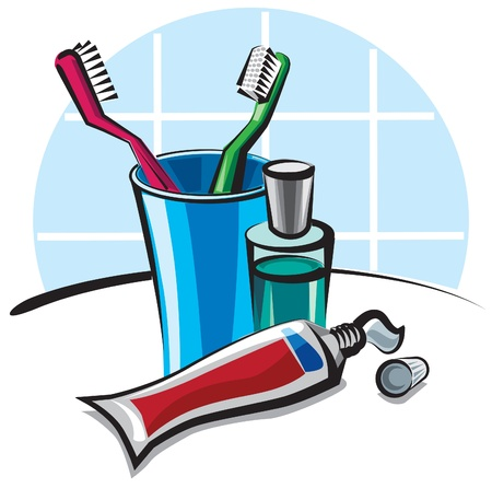 toothbrushes and toothpaste Stock Vector - 9602726