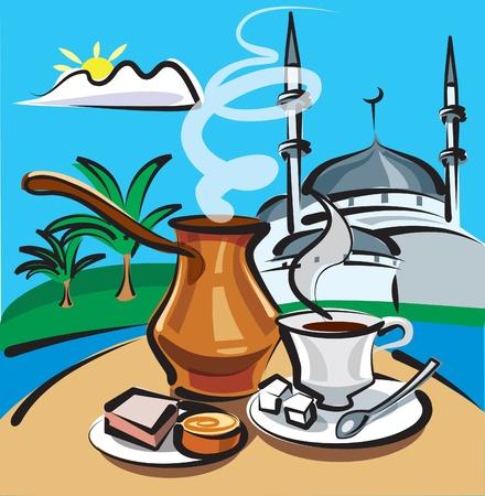 mediterranean food: turkish coffee Illustration