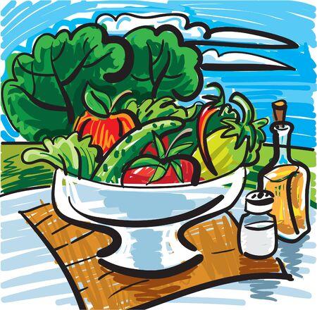cucumber salad: Bodeg�n con verduras Vectores