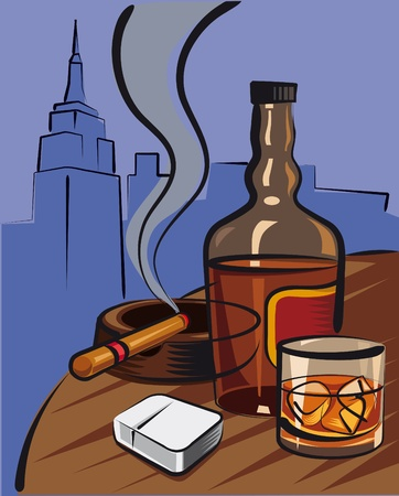 whiskey bottle: whisky y cigarro Vectores